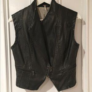 Free People black faux leather vest. Sz XS
